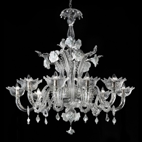 Artico 8 Lights Transpa And White Murano Glass Chandelier