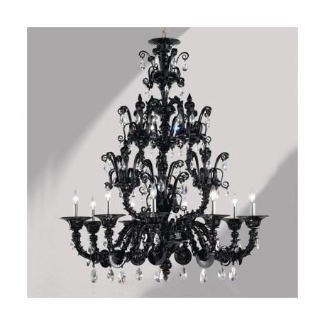 Dorsoduro 9 Lights Black Rezzonico Murano Glass Chandelier