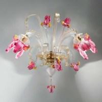 """Delizia"" pink flowers Murano glass wall sconce - Murano ..."