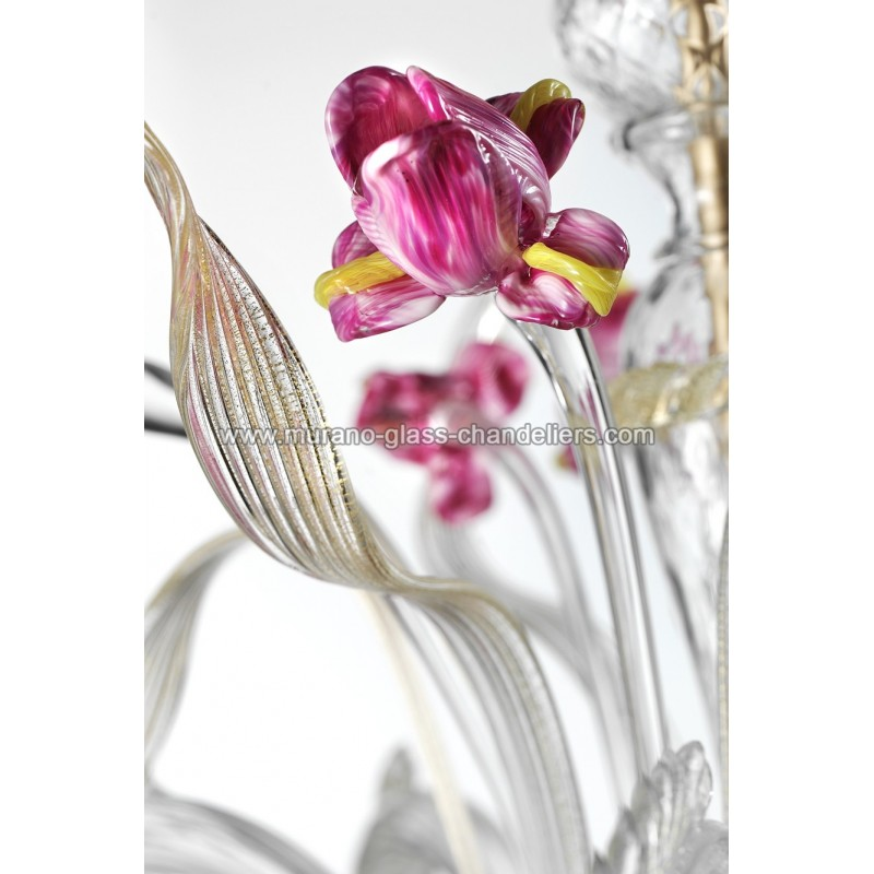 """Delizia"" pink flowers Murano glass wall sconce"