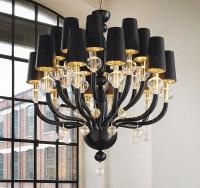 Black Glass Modern Murano Chandelier Black Lampshades