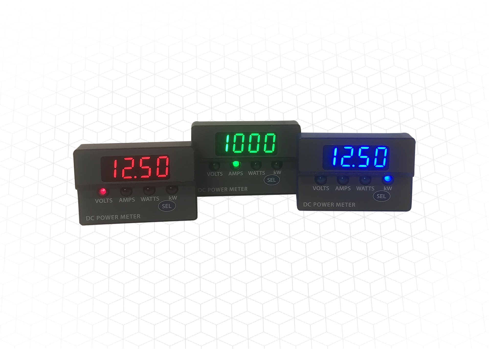 hight resolution of dc panel meters display voltage current and power