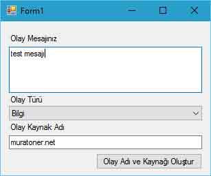C# ile windows olay görüntüleyicisine log atma