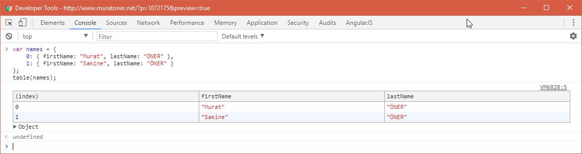 Chrome Developer Tools - Table Function