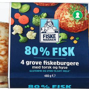 FISKEBURGER 80% TORSK&HYSE 480G FISKEMAN