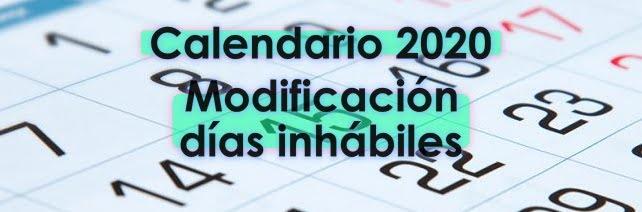 Calendario 2020 inhábiles