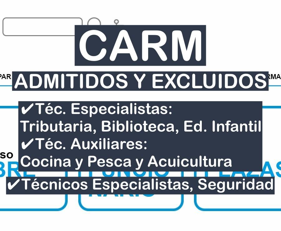 listas de admitidos en varios procesos selectivos de la CARM