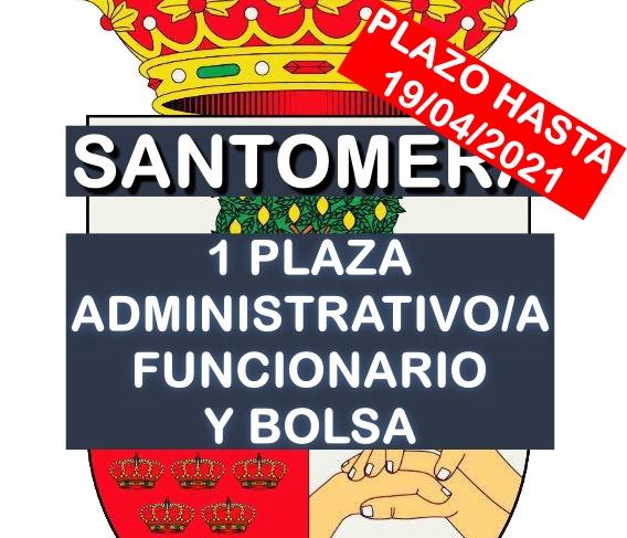 1 plaza de administrativo y bolsa en Santomera