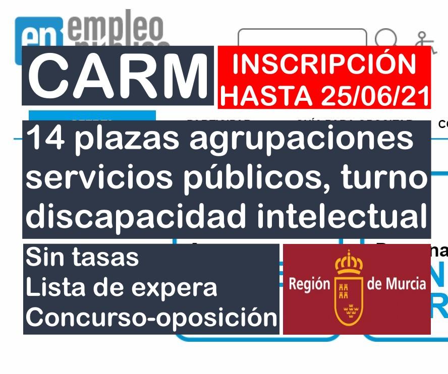 14 plazas Agrupación Profesional de Servicios Públicos de la CARM