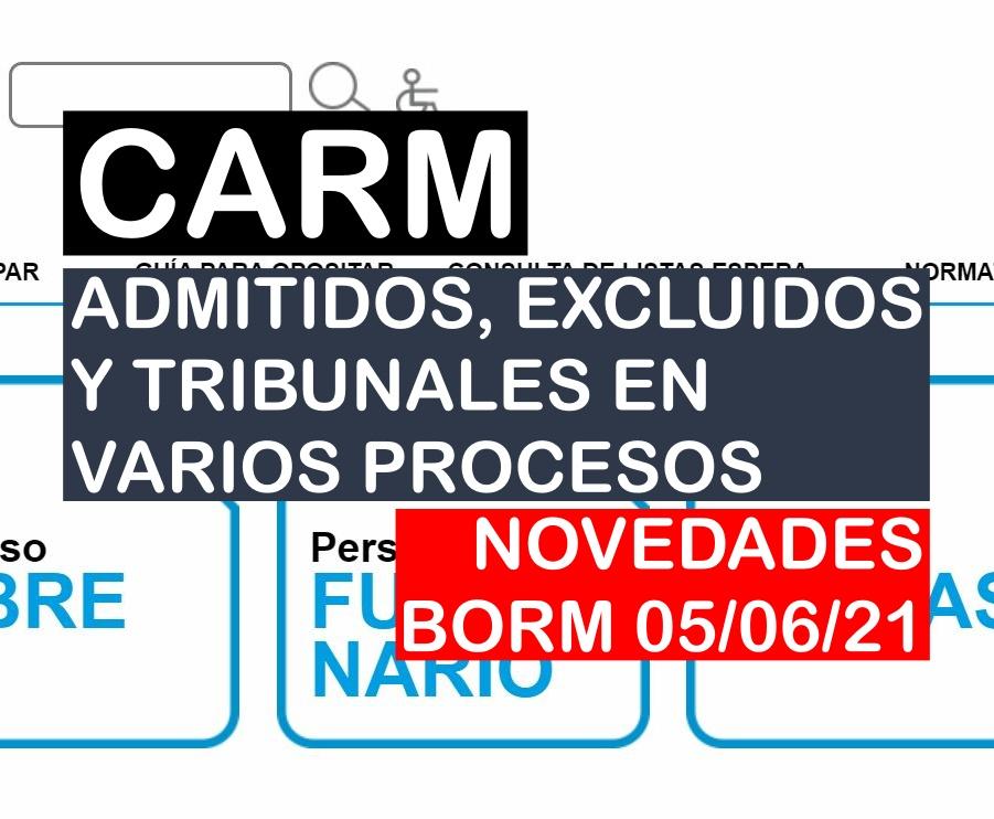Novedades en varios procesos selectivos de la CARM del BORM de 05 de junio de 2021