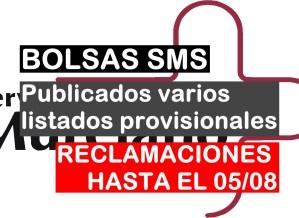 Publicados varios listados provisionales de las bolsas del SMS