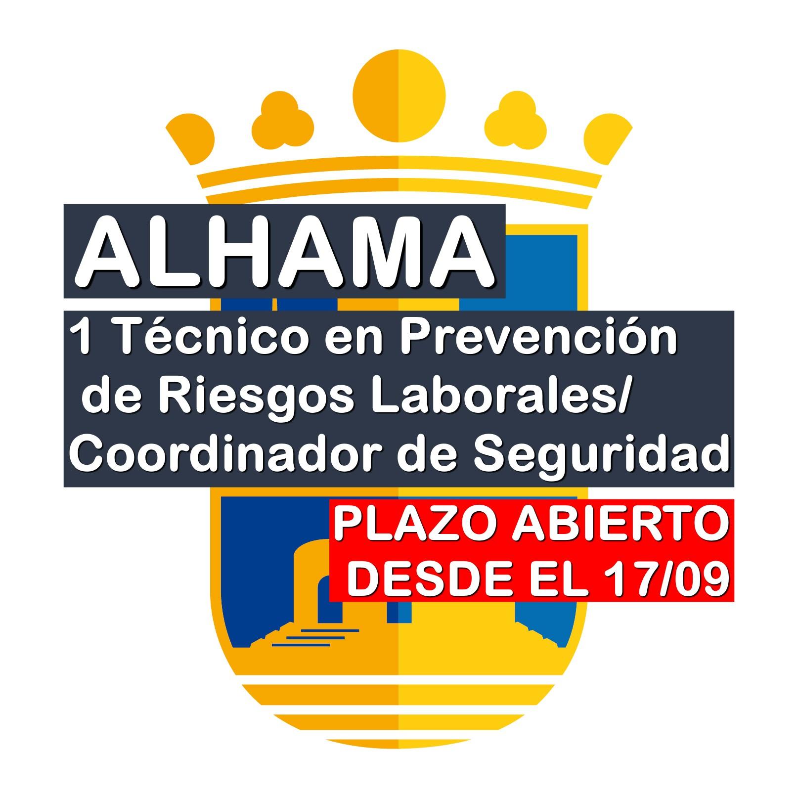 1 Técnico en Prevención de Riesgos Laborales/Coordinador de Seguridad en Alhama de Murcia