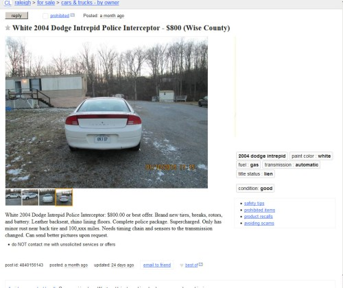 small resolution of  but the hell garage demons are nothing if not persistent so we ve managed to get this 2004 dodge intrepid ex police car in north carolina for you go