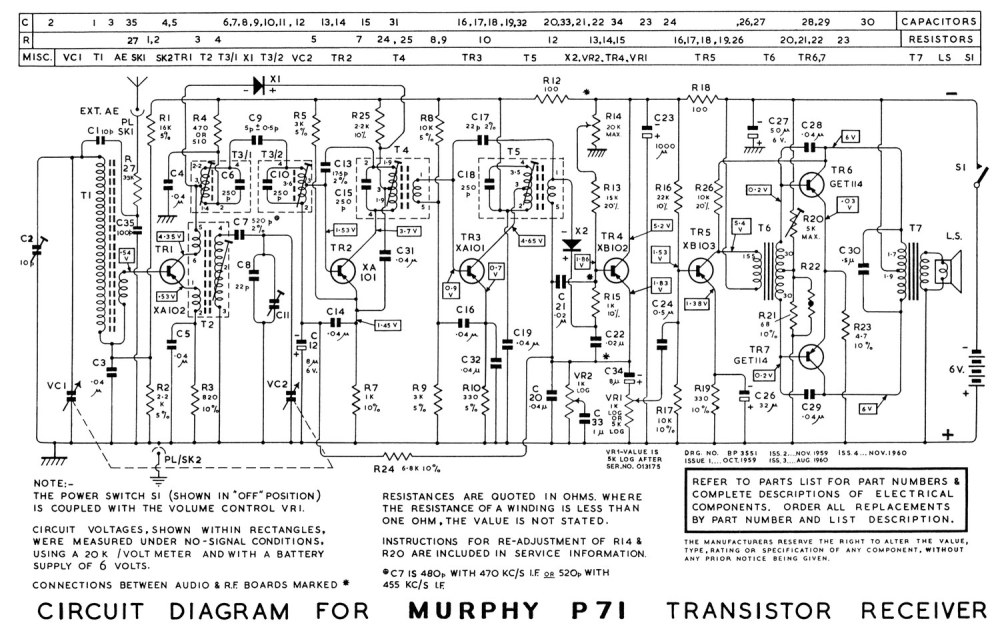 medium resolution of the murphy p71 7 transistor portable 333k