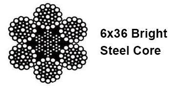 6 x 36 CLASS BRIGHT WIRE ROPE WITH STEEL CORE IWRC