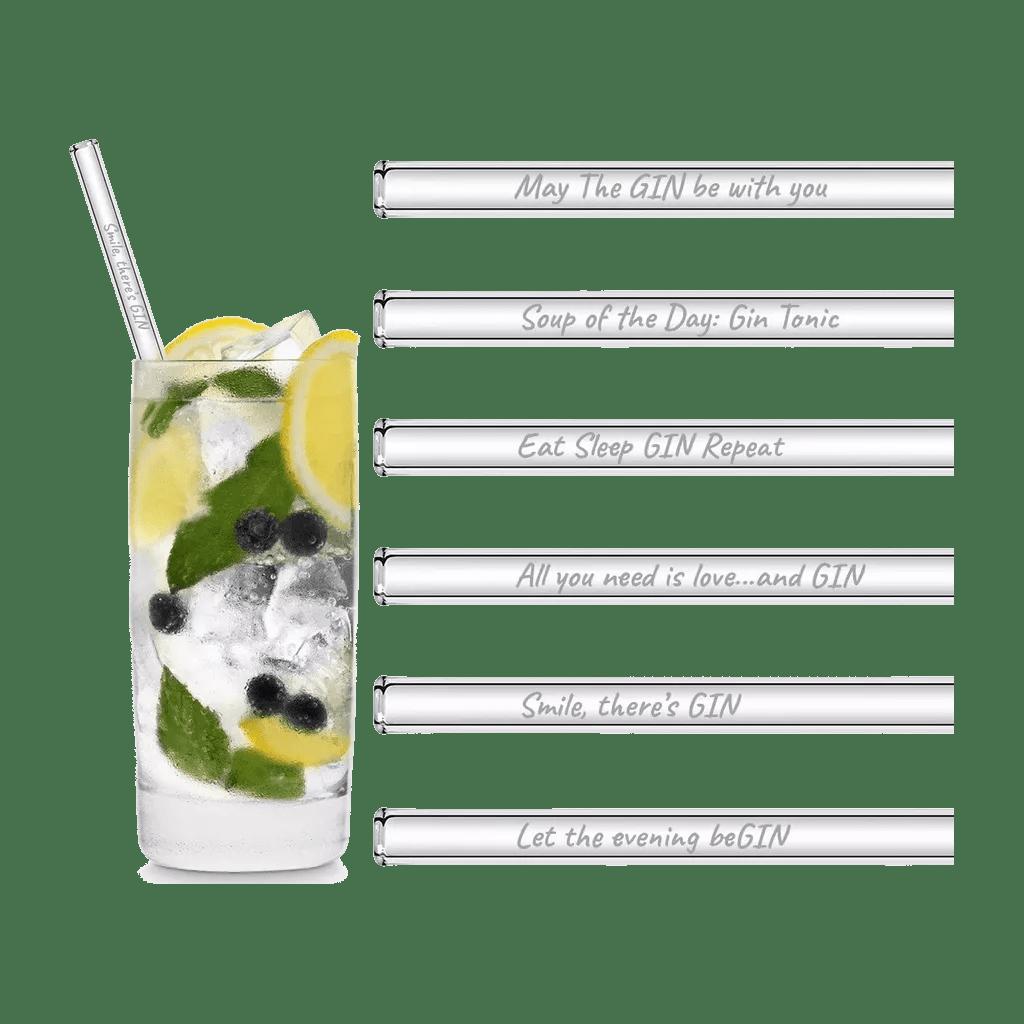 Glasstrohhalme mit gravierten Gin-Sprüchen in Deutsch 20cm