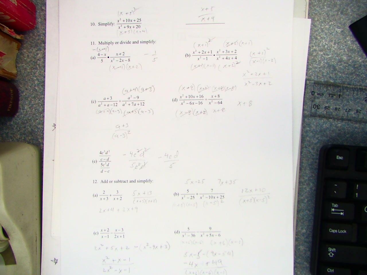 Algebra 1 Chapter 2 Test Answer Key