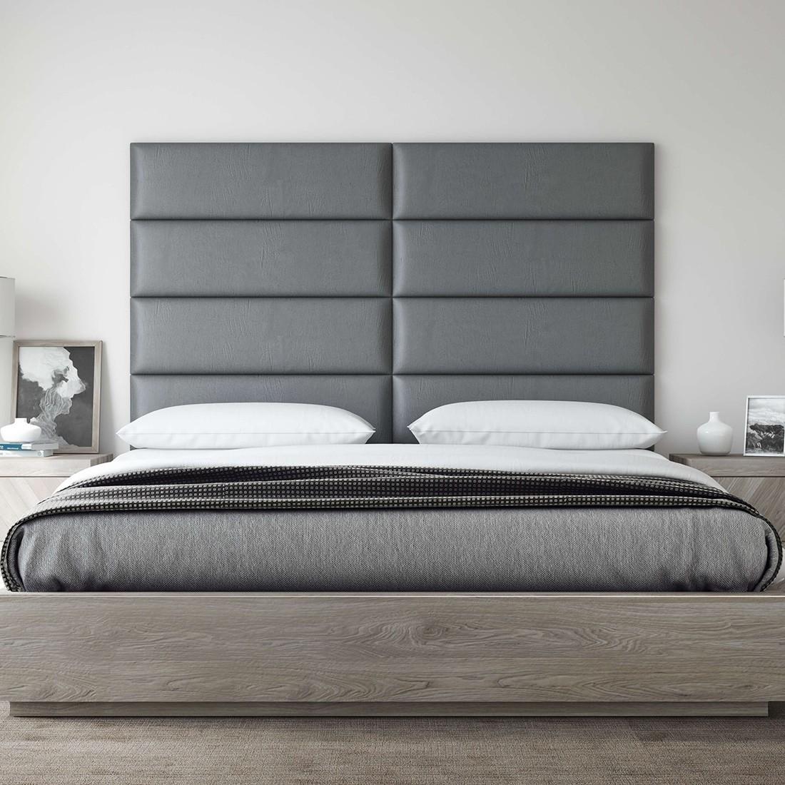 tete de lit capitonnee cuir gris panneau decoratif vant
