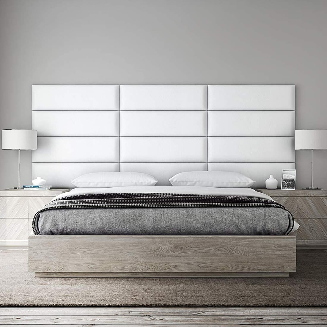 panneau tete de lit capitonnee mur capitonne simili cuir blanc