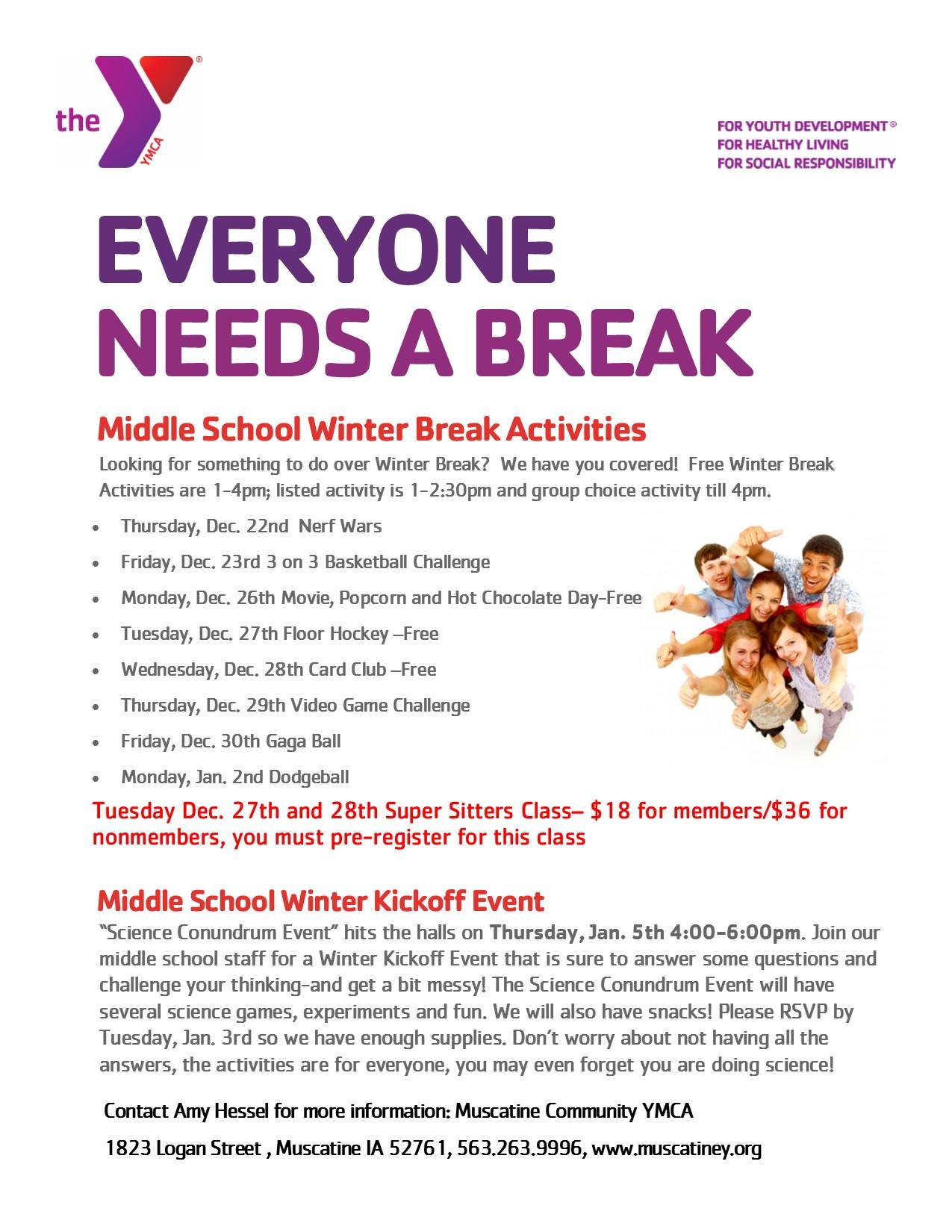 Winter Break Activities At The Y For Middle School