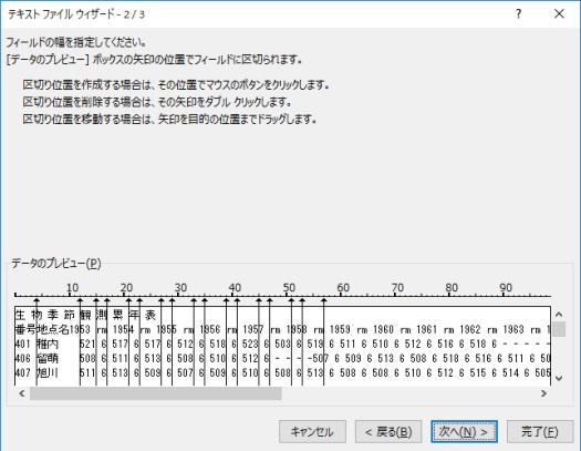 データ区切りの縦線を手動で引いていく.途中で位置が合わなくなっている