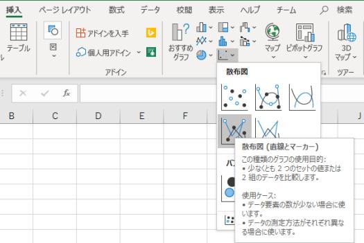 「挿入」タブの「グラフ」から「散布図」の「散布図(直線とマーカー)」