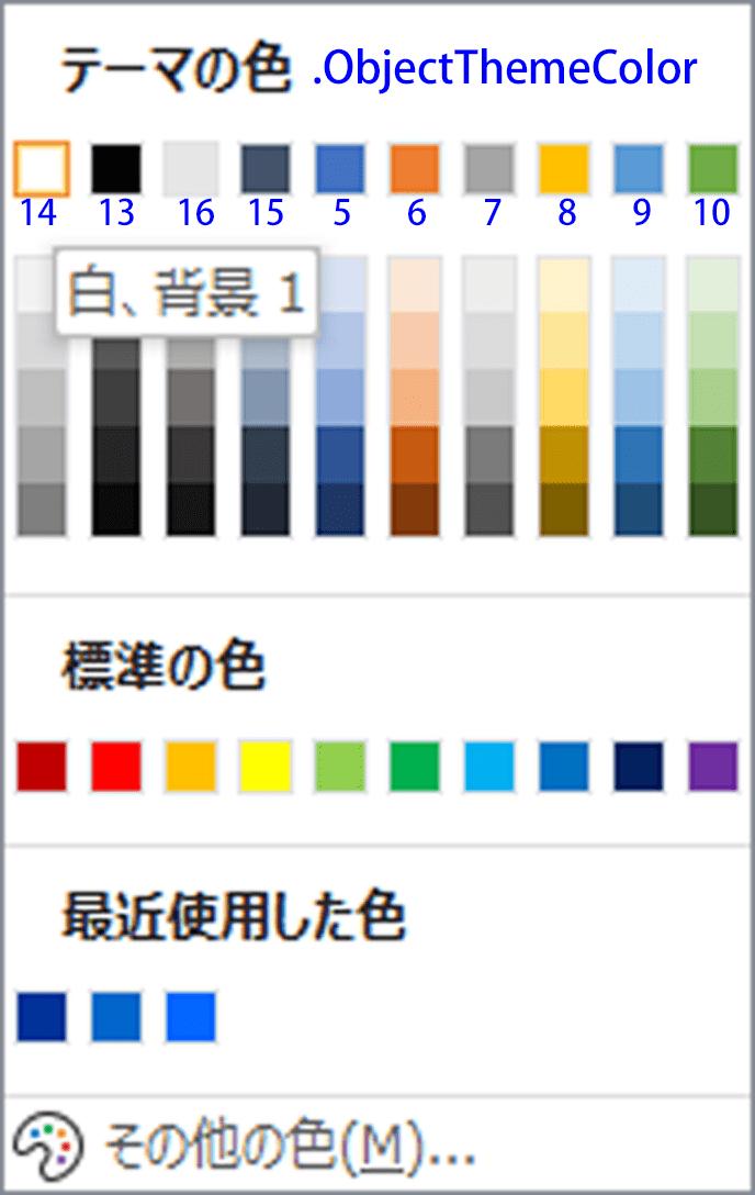 テーマの色はObjectThemeColorで指定する.10色が既定で選択できる