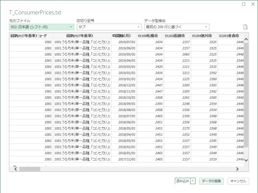 「データの変換」をクリックしてPower Queryへ移行