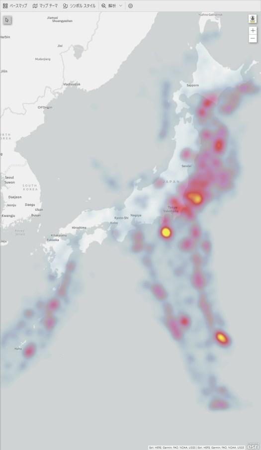 地震発生地域のヒートマップ