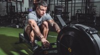 Mike Ranfone owner of a Connecticut gym working out on a row machine
