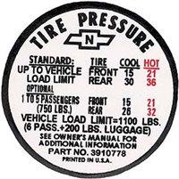 1972 Chevelle Tire Pressure Decal, ZR, 6271197