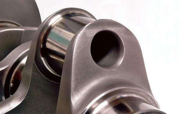 Drilled crankpins are the most effec¬tive way of reducing rotational inertia in a racing crankshaft without affect¬ing the overall strength of individual crankpins. (Courtesy Scat Enterprises)