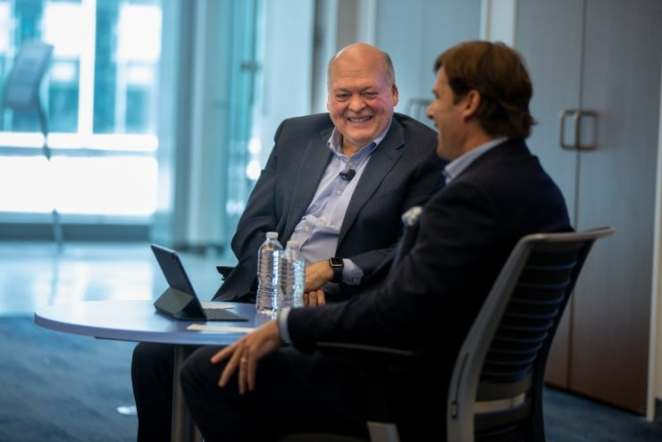Outgoing Ford CEO Jim Hackett, incoming Ford CEO Jim Farley