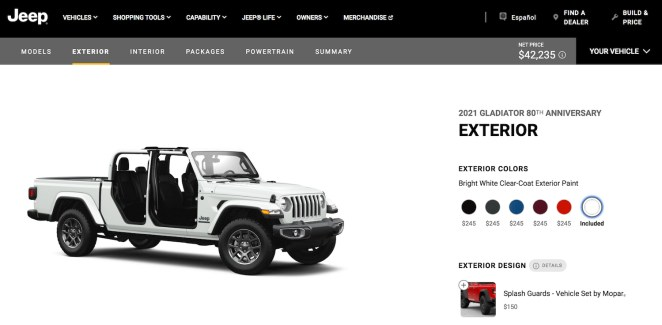 Image Of Jeep Gladiator 80th Anniversary Edition Configurator
