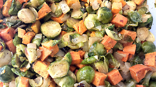 Roasted brussels n sweet potato