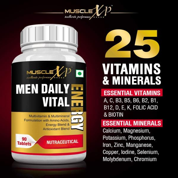 Men Daily Vital Energy With Multivitamins, Multiminerals and Energy Blend -  90 Tablets