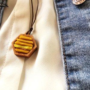 Kette Holz Glas personalisiert gelb Wabe