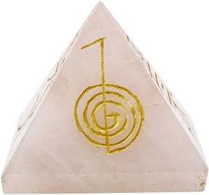 01-Pirámide Cristal de cuarzo Rosa (NEGRO)