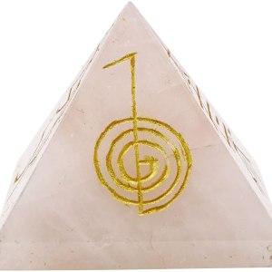 01-Pirámide Energía Cristal de cuarzo Rosa (NEGRO)