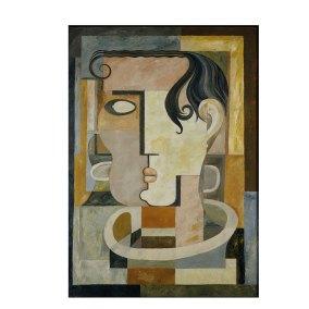 """Cabeza cubista"" 1948 : óleo sobre masonite 122 x 86 cm"