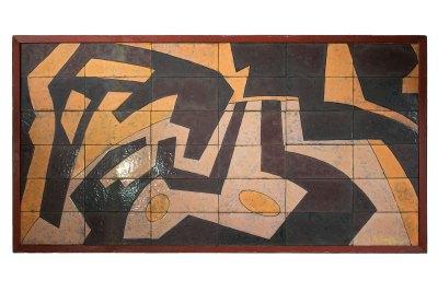 """""""Cubierta de mesa"""" s.f. : esmaltes y lámina de hierro 61 x 120 cm"""