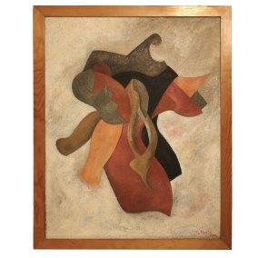 """""""Juglar"""" 1944 : óleo sobre cartulina 63.5 x 49 cm"""