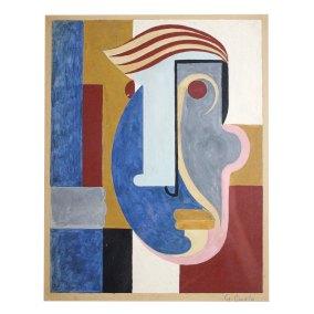 """Máscara abstracta"" s.f. : temple sobre papel 33 x 26 cm"
