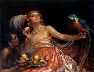 Dama con papagayo
