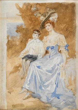 Dª María Vinyals e hijo (boceto)