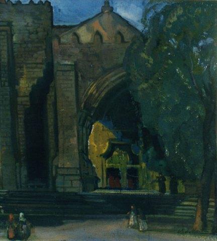 Anochecer en la catedral de Tuy. ID 013. Corpus Online Museo Gustavo de Maeztu
