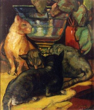 La pecera y tres gatos. ID 074. Corpus Online Museo Gustavo de Maeztu