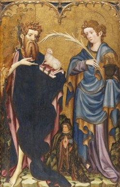 Saint John the Baptist and Saint John the Evangelist with a Donor - Mates,  Joan. Museo Nacional Thyssen-Bornemisza