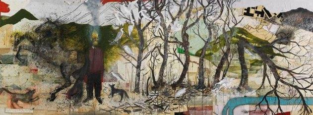 """Denis Riva """"Autoritratto con faccia che brucia"""" 2012-15 acrilico, lievito madre, pastello, fuoco e carta su tela, cm 382x141"""