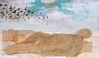 """Denis Riva """"Depurazione"""" acrilico, pastello e carta su legno, cm 107x181"""